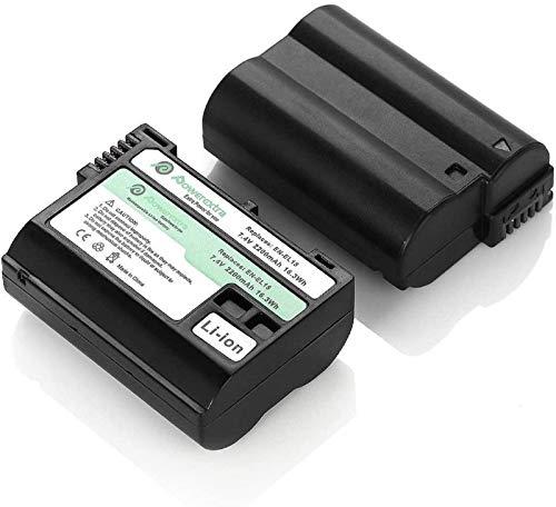 Powerextra 2x Batteria Sostitutiva EN-EL15 Batterie da 2200mAh per Nikon 1 V1 810A D600 D610 D750 D800 D800E D810 D810A D810E D7000 D7100 D7200