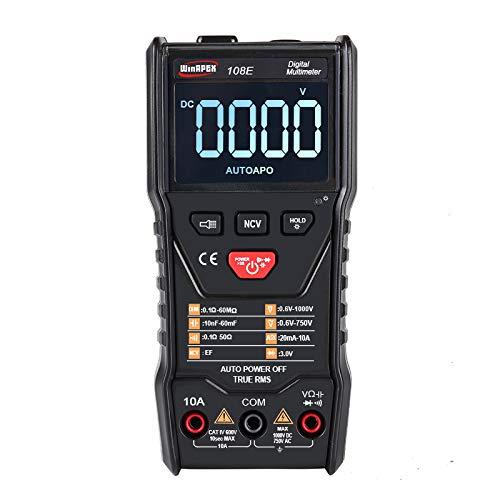 Risegun Multímetro Digital - 108E 6000 Cuentas Medidor de capacitancia de Resistencia de Corriente de Voltaje CA/CC Inteligente de Alta precisión con Cable de Prueba
