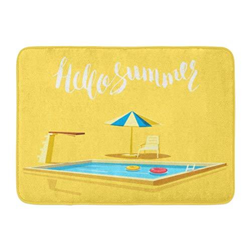 LiminiAOS Fußmatten Bad Teppiche Outdoor/Indoor Türmatte Schwimmen Hallo Sommer Schwimmbad Cartoon View Board Sonnenschirm Sprungbrett Badezimmer Dekor Teppich Badematte