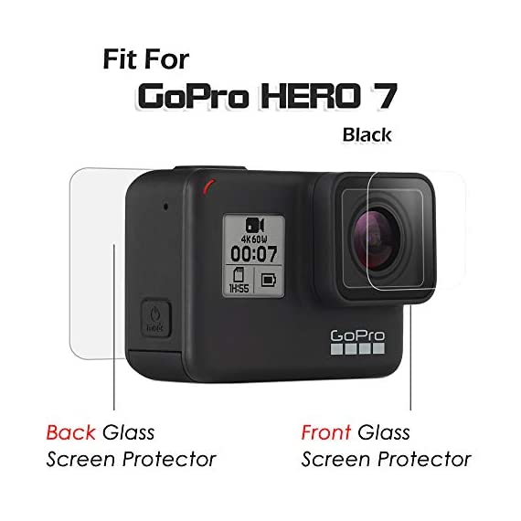 [4pcs] diruite screen protector for gopro hero 7(only black)/hero hd(2018)/hero 6/hero 5, ultrathin clear tempered glass… 2 【compatible model】perfectly fit for gopro hero 7 black/ hero 6/ hero 5/ hero hd 2018. (not fit for gopro hero 8 / hero 7 white/ silver) 【product material】high quality 9h hardness glass,avoid screen and lens from accidental scuffs and scratches by knife, keys and other hard objects. 【product features】full coverage screen protection / hd clear viewing experience / bubble-free / easy to install