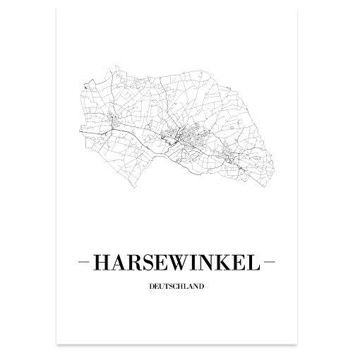 JUNIWORDS Stadtposter - Wähle Deine Stadt - Harsewinkel - 40 x 60 cm Poster - Schrift A - Weiß