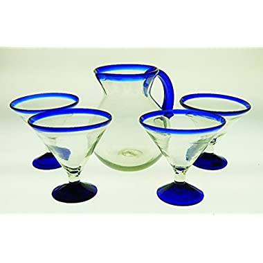 Mexican Margarita Glasses and Pitcher, Blue Rim 15 Oz (Set of 4 Glasses) (Martini) with Round Shape Pitcher 80 oz