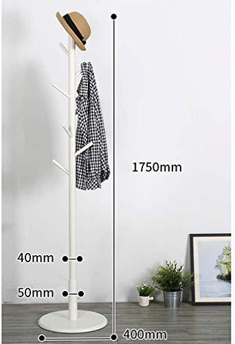 ZXL Kledingrek, kledinghanger, garderobe, vloer, slaapkamer, kledinghanger, massief hout, woonkamer, montage, moderne opbergkast, kledingstandaard met 9 haken voor kleding sjaals en hoeden, 175 cm (H