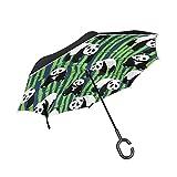 rodde Panda de Doble Capa Invertida con Paraguas de bambú Cars Reverse...