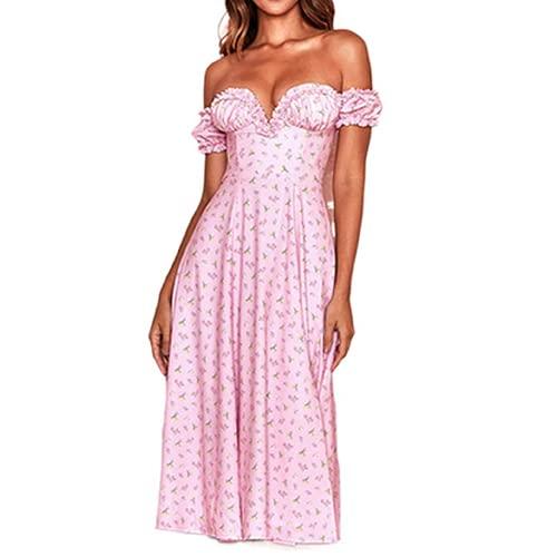 Boho Maxivestido para mujer, con hombros descubiertos, casual, floral, estilo cottagecore
