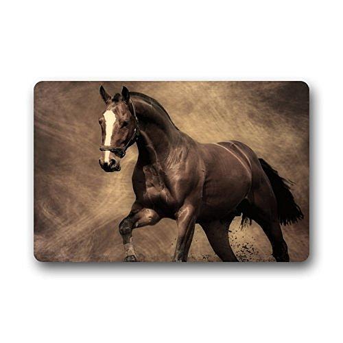 Homie diseño Wild caballo Tejido/exterior/ducha/baño Felpudo lavable antideslizante de goma Kitchen Rugs 23,6x 15,7) para interiores/al aire libre