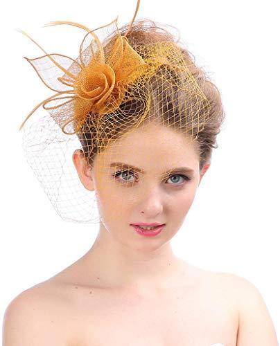 KILLM Fascinator Cocktail Party-Hüte Braut Kentucky Derby Stirnband Mützen Hüte für Frauen Feder,Orange