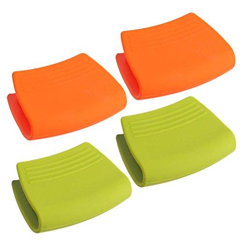 BESTonZON 2 Paires de Mini Gant de Four Résistant à la Chaleur Poignée de Pince Grip Silicone Pot Titulaire (Couleur Aléatoire)