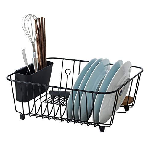 Yxsd wastafel afvoerrek keuken draad rekken rek, Vaatwasser Rack, Drogen beugel, Strijkijzer, Zwart, 38x32x14.5cm