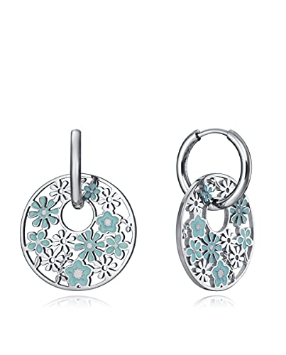 Pendientes Viceroy Kiss en acero con disco colgando calado de flores con esmalte azul