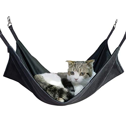 Petneces Cat Hammock Bed Pet Cage Hammock Reversible Hanging Bed Warm/Cool Mat for Cage 22x14.5inch...