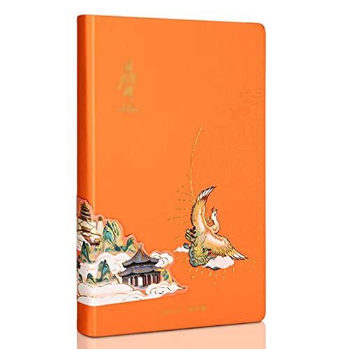 Cuadernos Cuaderno para la composición de trabajo Cuaderno Retro Retro Nota Material PU Material para la oficina de la escuela (naranja, azul) Diario (Color : Orange)
