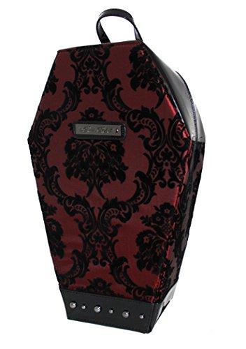 Madame Mistress Damast burgund rot PVC Sarg Rucksack von Rock Rebel