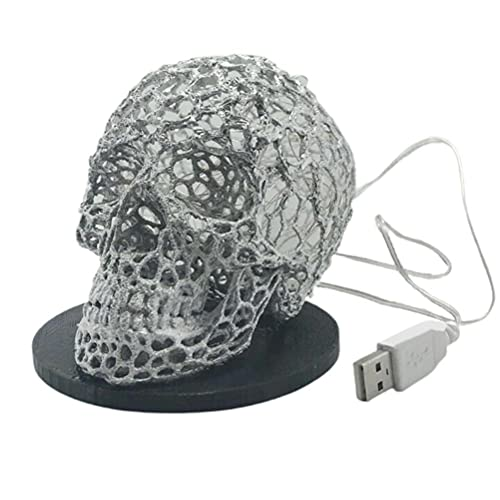 ZHAOCI Lámpara de Esqueleto 3D, luz de Noche LED de Calavera de Halloween USB, lámpara de Esqueleto de Terror Exquisita Hecha a Mano de Halloween, estatuas de Manualidades Creativas para Halloween