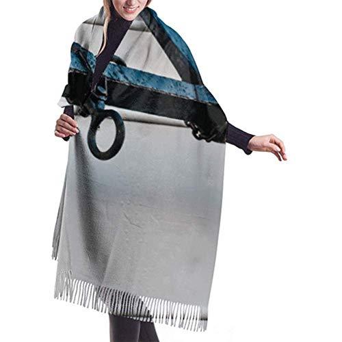 Kevin-Shop 27 'x 77' sjaal met franjes oud zeilschip anker in de hak dames sjaal zomer lichte sjaal heren grote warme deken
