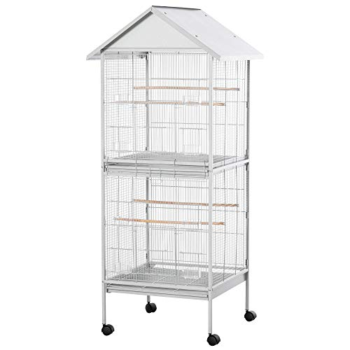 PawHut 170cm Large Wrought Metal Bird Cage Mobile Feeder with Rolling Stand Perches Food Containers Doors Wheels for Finch Canary Budgie Cockatiel White