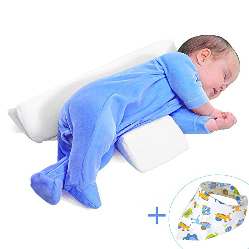 kylin4835 Baby Wedge Pillow for Side Sleeping, Baby Sleep Pillow Anti-Roll for Newborn, Infant Side Sleep Positioner (White)
