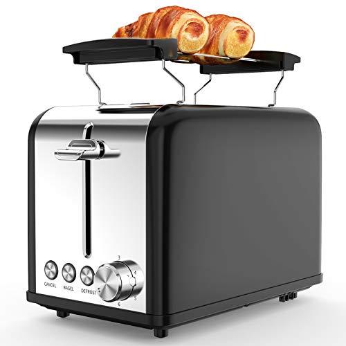 Morpilot 2 Scheiben Toaster Schwarz Edelstahl Toaster mit Brötchenaufsatz, Breite Schlitze, 6 Bräunungsstufen, Krümelschublade für Toast Brötchen Brot Toastscheiben
