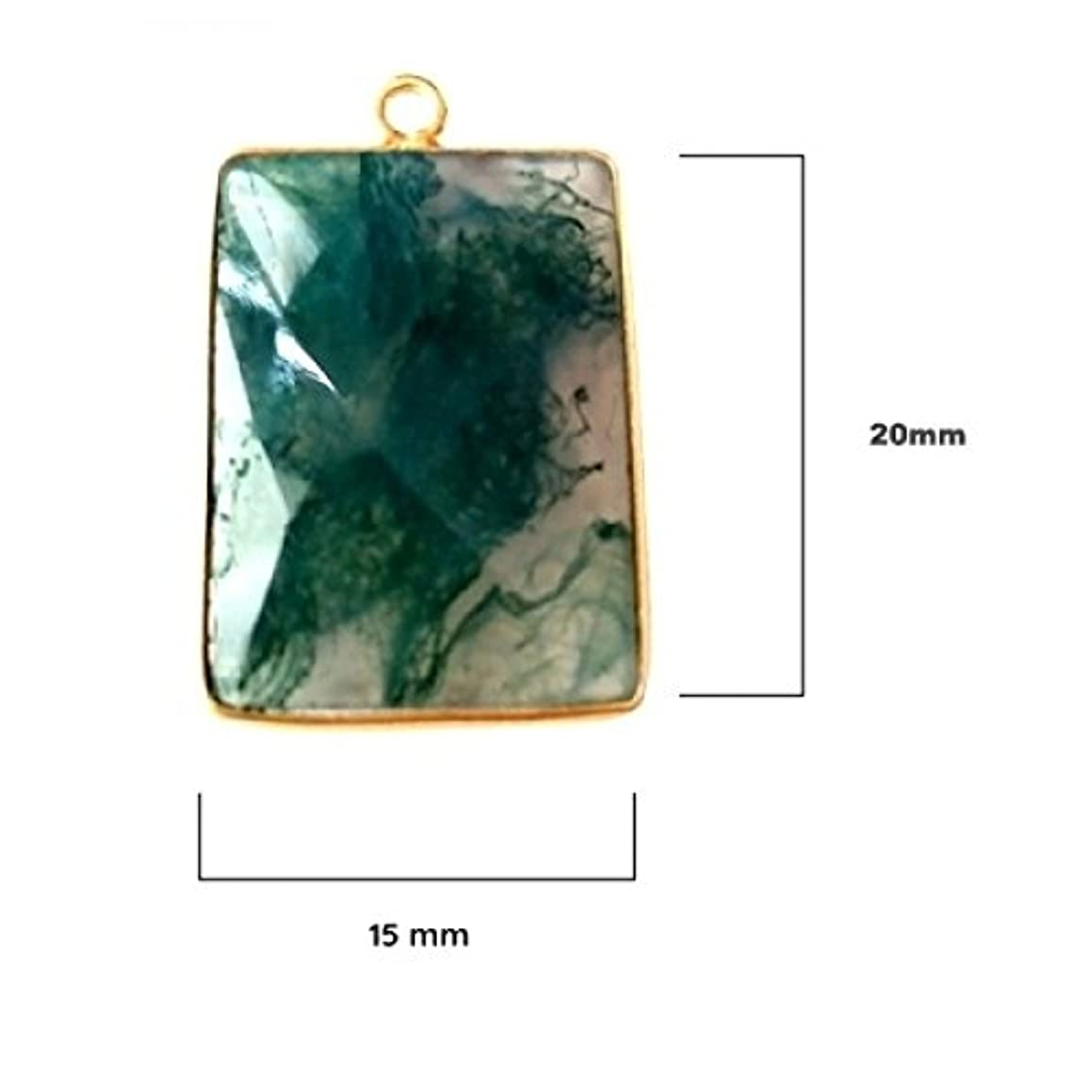 2 Pcs Natural Moss Agate Rectangle Beads 15X20mm 24K Gold Vermeil by BESTINBEADS, Natural Moss Agate Rectangle Pendant Bezel Gemstone Connectors Over 925 Sterling Silver Bezel Jewelry Making Supplies