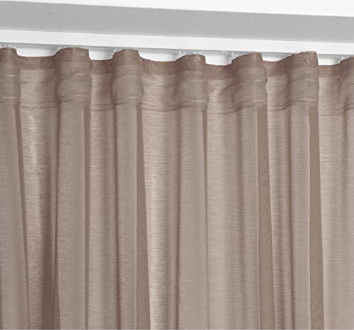 BEAUTEX Vorhang mit U-Band 140x250 cm (Farbe Wählbar) transparente Kräuselband Gardine, Dolly (Taupe)