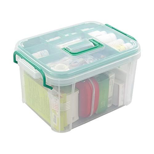 Callyne Juego de 1 contenedor de caja de almacenamiento transparente, caja de primeros auxilios familiar organizador de caja de medicamentos