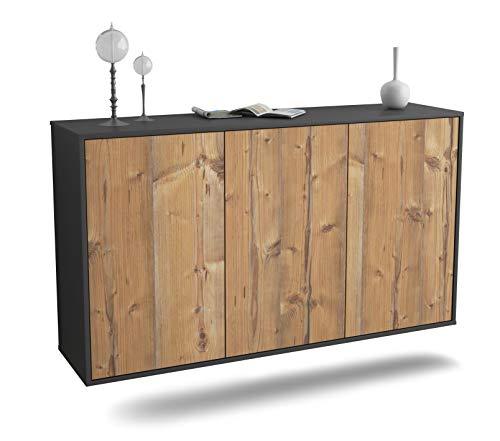 Dekati Sideboard Chattanooga hängend (136x77x35cm) Korpus anthrazit matt   Front Holz-Design Pinie   Push-to-Open