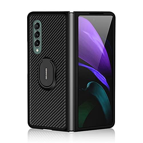 DOHUI Hülle fürSamsung Galaxy Z Fold 3 5G, Ultra Thin Kratzfest Kohlefaser Schutzhülle Stoßfest Schutz Cover Hülle mit Ständer, Handyhülle für Samsung Galaxy Z Fold 3 5G (Schwarz)