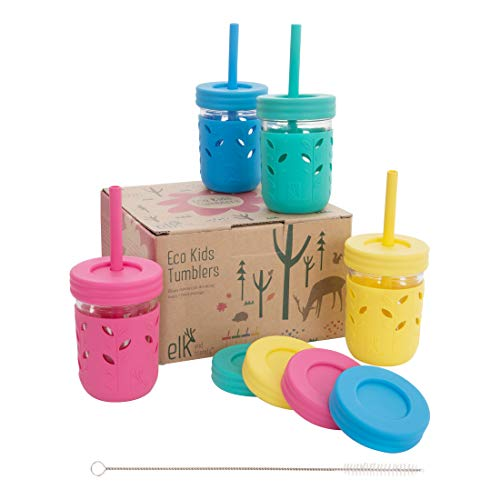 Elk and Friends Kids & Toddler Cups | The Original Glass Mason jars 8 oz with Silicone Sleeves &...