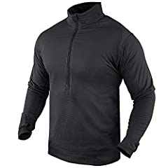 Highly breathable grid fleece. Flat seam construction. Mid chest zipper converts to turtle neck. Sleeve with thumb hole. Available in Black, Olive Drab, Sand, and Tan