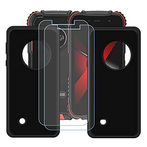 """szjckj 2 x Funda para Doogee S35 + 2 x Protector de Pantalla, Case Cover Carcasa Bumper Negro Clear TPU Silicone Cristal Vidrio Templado para Doogee S35 (5,0"""")."""