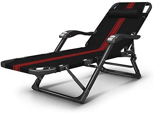 Sillones al aire libre Reclinación reclinable de silla plegable al aire libre silla reclinable silla plegable siesta silla cama silla individual silla portátil fresco silla rojo rayas doméstico portát