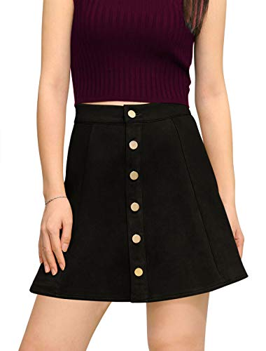 Allegra K Women's Faux Suede Single Breasted Front A-Line High Waist Button Closure Mini Short Skirt M Black