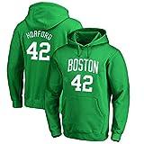Sudadera con Capucha de Baloncesto Boston Celtics 42# Horford Jersey Sudadera con Capucha Camiseta de Baloncesto Suelta Blusa-XL