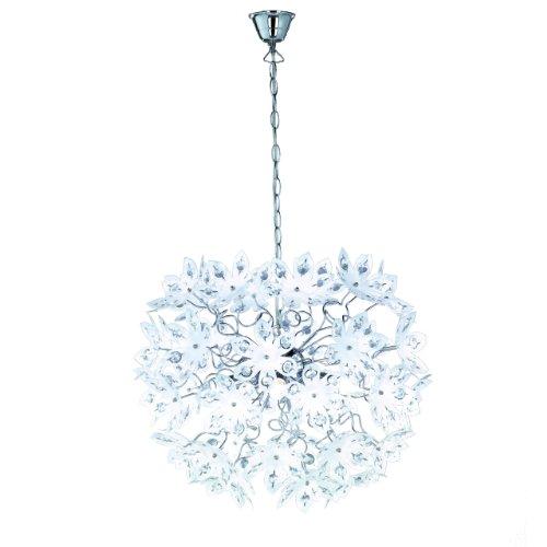 Reality Leuchten Pendellampe chrom, Acrylblüten weiß mit klaren Steinen, Durchmesser: 55 cm, 5 x E14, maximal 40W, ohne LM R11905001