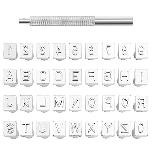 37 PCS Leather Stamps Alphabet Set, 6 mm Alphabet Stamp Tools Set Leather Craft Stamping Tool Kit Metal Letter and Number Stamps Punch Set for DIY Leather Craft Printing Tools