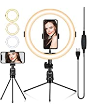 """TARION 11"""" LED Selfie Ring Light with Mini Table Tripod & Phone Holder Beauty Ring Light + for Live Streaming Photography Videography Conference Lighting Adjustable Brightness 3 Modes x 10 Levels"""