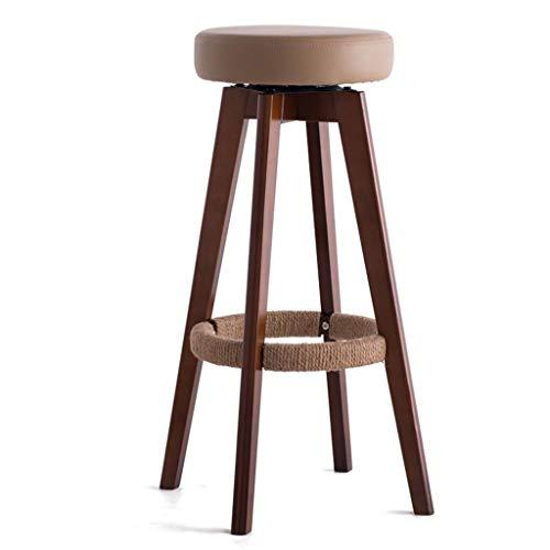 WWW-DENG barkruk van hout, rond, kruk, ontbijtshocker, voor keuken, huis en bedrijf, creatief, eenvoudige stijl, bruin