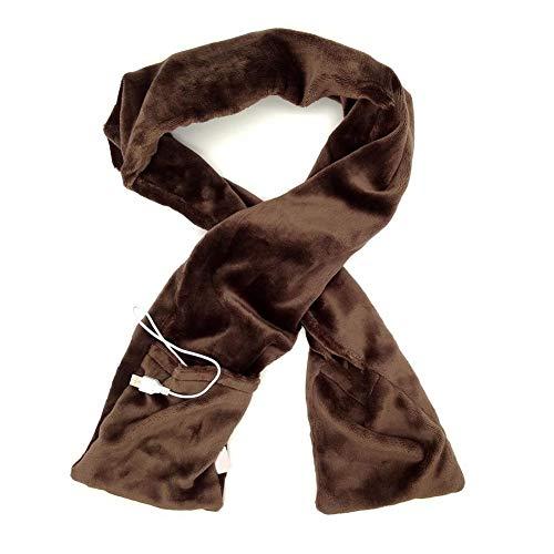 MEISHU Sciarpa ardente, sciarpa riscaldata USB, tasche scialle riscaldate morbide, unisex inverno caldo collo avvolgente all'aperto (Marrone)