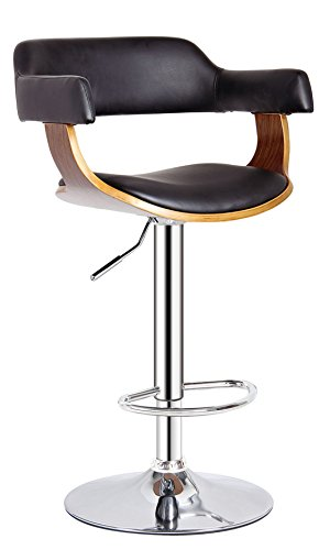 AC Pacific Contemporary Hydraulic Lift Adjustable Swivel Barstool with Padded Armrests, Seat and Back, 24'-32', Wood