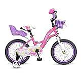 LIPENLI 14, de 16 Pulgadas Bicicletas for los niños de 3-8 años de Edad Chicos y Regalos del Girls' Bicicletas for niños Bicicletas for Niños Bici Rosa Amarillo (Color: Rosa, Tamaño: 16inches)