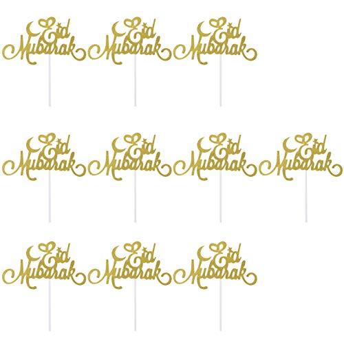 Toddmomy 10 Piezas Eid Mubarak Torta de Adorno Cupcake Toppers Musulmán Islámico Ramadan Fiesta Suministros de Decoración (Oro)