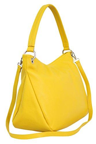 AMBRA Moda Damen echt Ledertasche Handtasche Schultertasche Beutel Shopper Umhängtasche GL002 Viele Farben (Gelb)
