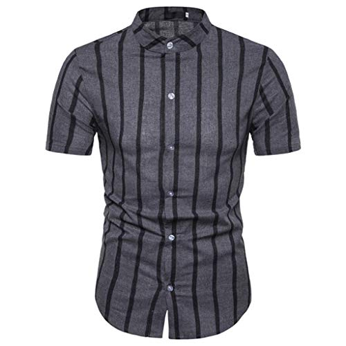 MEIbax Camisa Casual de los Hombres Temperamento a Rayas de Manga Corta Cómodo y Transpirable Tops Casuales de los Hombres Cómodo y Transpirable, Combinado con Jeans, Pantalones Casuales etc.