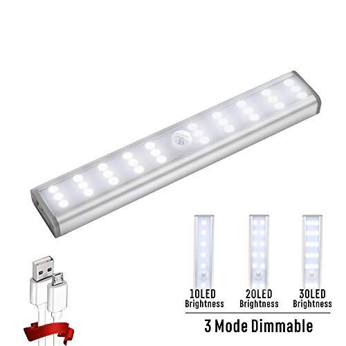 Homelife Motion Sensor LED Light, 4 Mode 30-LED Wireless Dimmable Closet Light, Stick-on Anywhere Portable LED Light Under Cabinet Lighting, Build in Rechargeable Battery Magnetic Safe Night Lights