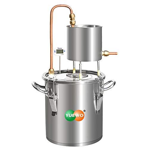 YUEWO Distillatore alcolico Alambicco Alcolici Caldaia per vinificazione con Pompa Termometro Incorporato per Whisky Brandy Vodka in Acciaio Inossidabile (12L)