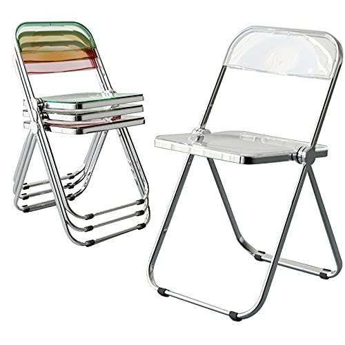Folding Chairs Silla Transparente, Silla Plegable, Marco De Metal, Acomodación, Respaldo, Fácil De Transportar, Sin Espacio, Redondeado, Mudo Antideslizante (Color : Milky White)