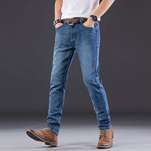 N-B Pantalones Vaqueros para Hombre Pantalones Casuales elásticos de Moda Pantalones de Pierna Recta Delgados
