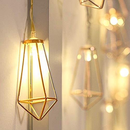 Lichterkette rosegold geometrisch Laterne LED Lampe Vintage-Look Weihnachtsbeleuchtung batteriebetrieben warmweiß Retro-Design kupfer Weihnachtsdekoration