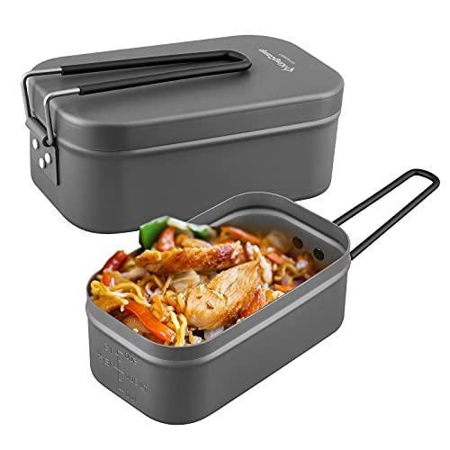 KingCamp Brotbox Brotzeitbox aus Aluminium Ultraleichte Essenbox mit Handgriff Dichte Brotdose Lunchbox ohne Plastik BPA
