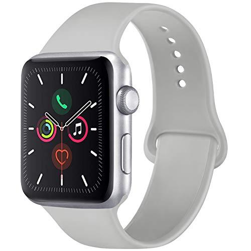 Vancle コンパチブル Apple Watch バンド 38mm 42mm 40mm 44mm シリコン スポーツバンド アップルウォッチ バンド for iWatch Series 5/4/3/2/1に対応 (42mm/44mm-S/M, グレー)
